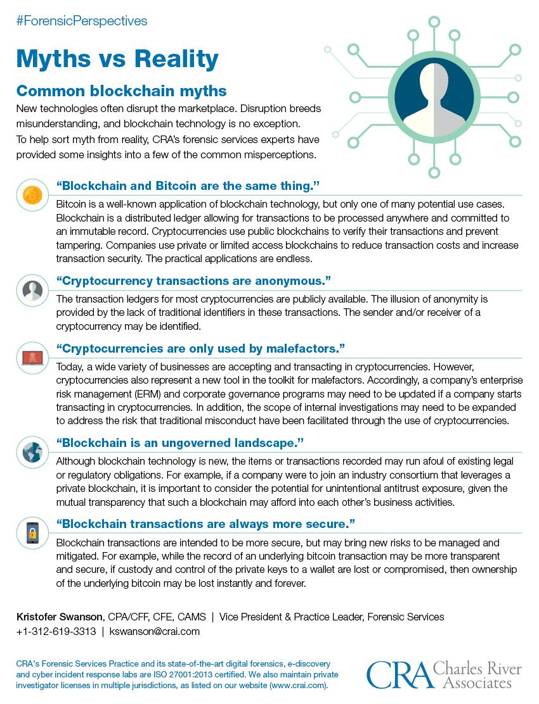 An infographic explaining common blockchain myths