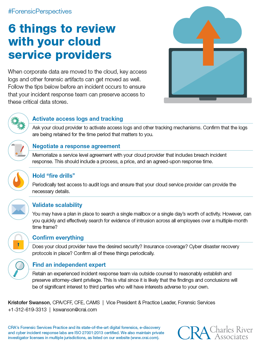 6 things to review with your cloud service providers