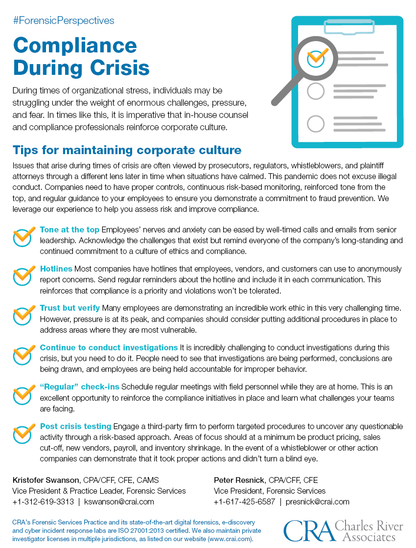 Compliance During Crisis Infographic